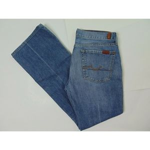 7FAMK 7 For All Mankind Flare Wide Leg Blue Jeans